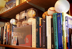 Kevin Clark Bookshelf of Poetry and Literature Books with Baseballs